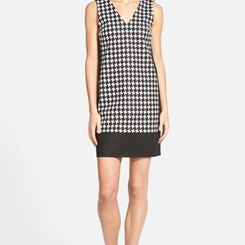 Women's MICHAEL Michael Kors 'Sutter Houndstooth' Sleeveless Mixed Media Shift Dress,