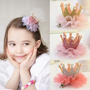 15pcs Princess Crown Tulle Flower Kids Baby Girl Hair Clips Pin Hairpin Hairclip Tiara Quality Barrette Birthday Gift