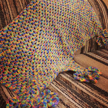 Large Rainbow Granny Square Blanket with Floral Tassels - Hand Crochet Rainbow Afghan
