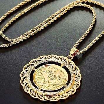 4.8cm Pendant Necklace Arab Coin for Women 18k Gold Plated Iced Out Turkey Coin Jewelry Turk Coins