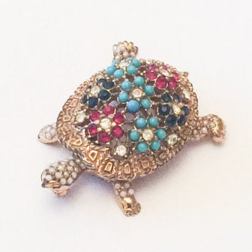 Ciner Brooch Turtle Brooch Turquoise Rhinestone Brooch 1950s Winter Fashion Vintage Jewelry