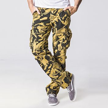High quality Men's Cargo Pants. Cotton100% Multi-Pocket Overalls Loose Camouflage Straight casual pants Men LeisureTrousers