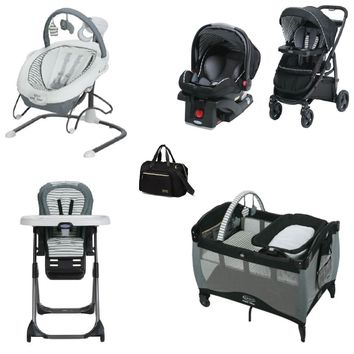 Graco Black Striped Complete Baby Gear Bundle,Stroller Travel System,Swing