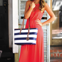 Crossing Paths Maxi Dress: Coral | Hope's