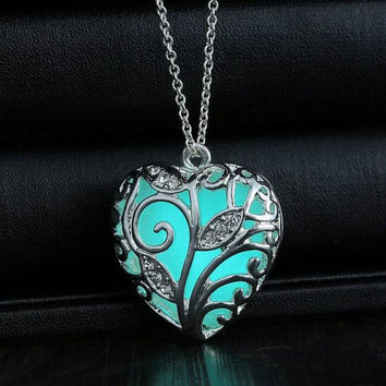 Anna Frozen inspried Glowing Blue Heart  Necklace Blue Glow in the Dark Heart Necklace