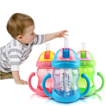Hot 280ml Cute Baby Cup Kids Children Learn Feeding Drinking Water Straw Handle Bottle mamadeira Sippy Training Cup 3 Colors