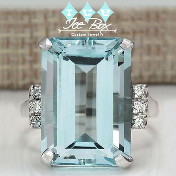 The Markle - Aquamarine Engagement Ring 6.2ct, 14x10 Emerald Cut in a 14k White Gold Setting