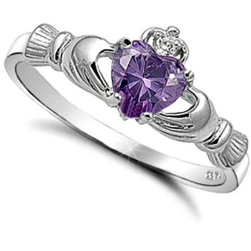Sterling Silver Amethyst CZ Purple Claddagh Ring Size 4-12