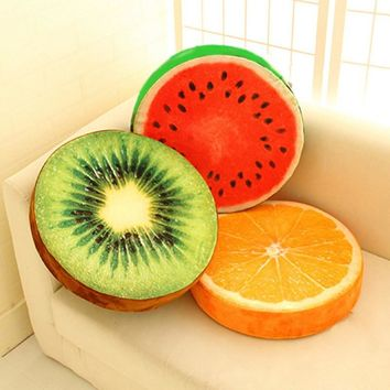 3D Fruit Print Home Kitchen Office Chair Car Seat Back Pads Cushion Plush Toys