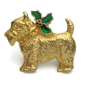 Terrier Dog Christmas Pin - Gold Tone Red and Green Enamel Holly and Ivy - Scottie Scottish Terrier Wire Fox Terrier Airedale Brooch