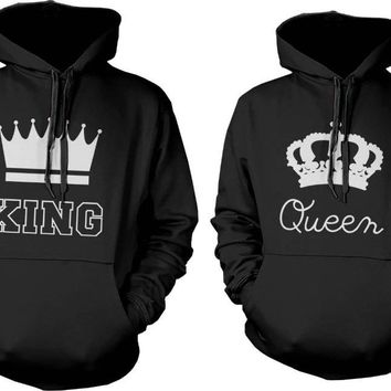 King and Queen Couple Hoodies Sweatshirt Simple Logo  Long Sleeve Letters And Crown Pullover Hoodies Plain Blouse Hooded Coat