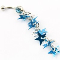 316L Stainless Steel 14 Guage Blue Multi Star Dangle Belly Ring Bar Navel Ring Button Jeweled 14g 7/16""