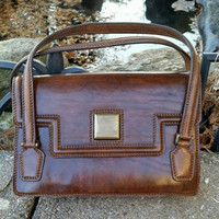 Vintage Boho Retro Chic Brown Leather Structured Handbag Purse