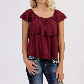 Wine Suede Off or On Shoulder Ruffle Top *MADE IN USA*