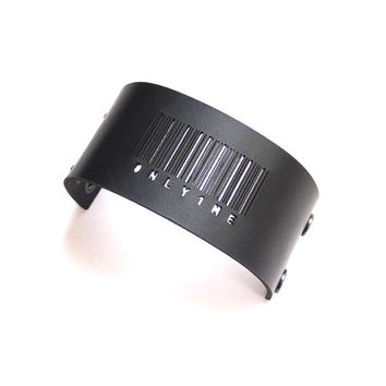 black leather bracelet cuff - Barcode Cuff in Black Leather with Snaps: ONLY1ME - modern design, laser cut