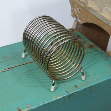 Mid Century Metal Spring Coil Mail Holder • Modern Office Desk Accessory • Vintage