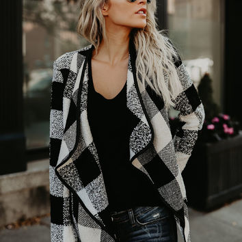 Open Front Turn-down Collar Plaid Coat - NOVASHE.com