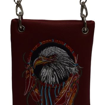 American Bald Eagle And  Western Indian Cowgirl Messenger Mini Women Cross body Bags