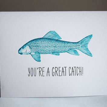 You're A Great Catch Card, 5.5 X 4.25 Inch (A2), Turquoise Fish, Cute Love Card, Funny Love Card, Valentine's Day Card, Fish, Anniversary