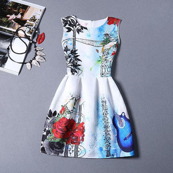 Country Rose Floral Print Office Women Outfit To Work Sleeveless Summer Dress