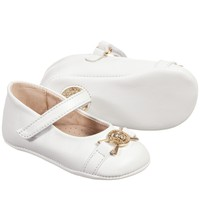 Baby Girls White Leather Pre-Walker Shoes