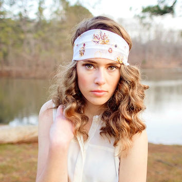 Hair scarf,Chiffon Head wrap in Yellow and brown flowers,trendy, hair band,headband