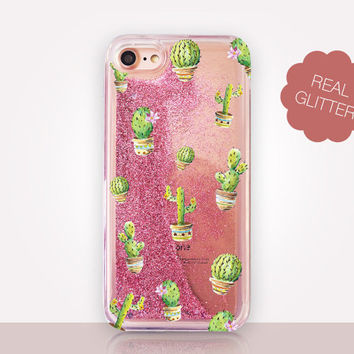 Colorful Cactus Glitter Phone Case - Transparent Case - Clear Case - Transparent iPhone 7 - Clear iPhone 7 Plus - Gel Case - iPhone 6/6S