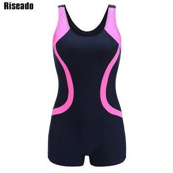 Riseado 2018 One Piece Swimsuit Sport Swimming Suits for Women Competition Training Swimwear Open Back Bathing Suits