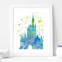Disney castle print watercolor wall Art, Room Decor, Disney Cinderella's Castle Poster, Home Baby Nursery Wall Art