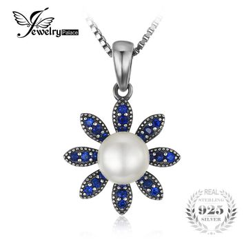 JewelryPalace Flower 0.2ct Created Blue Spinel Cultured Pearl Pendant 100% Real 925 Sterling Silver jewelry Not Include A Chain