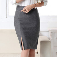 New Fashion Women Office Formal Pencil Skirt Autumn Winter Elegant Slim Front Slit Midi Skirt Black/Gray/Red/Blue OL Skirts