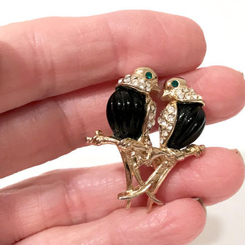 Rhinestone Lovebirds Brooch Pin  Black Molded Glass  Sitting On Branch  Gold Tone Signed N L H  Landau Jewelry  Vintage 1980's Gift For Her