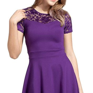 Sylvestidoso Women's A-Line Pleated Short Sleeve Little Cocktail Party Dress with Floral Lace