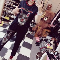 """Gucci"" Women Casual Fashion Hot Fix Rhinestone Dog Head Short Sleeve Trousers Set Two-Piece Sportswear"