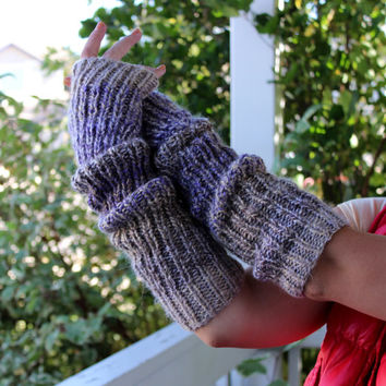 Hand Knit wool handwarmers. Made of alpaca blend in beige purple mix. Long. Christmas gift. Chunky arm warmers. Fingerless gloves. Winter