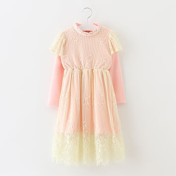 "The ""Sarah"" Girls & Tween Long Sleeve Lace Dress - Pink"