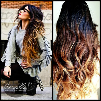 Exclusive for Kellea Wolfe / Clip In Hair Extensions / Sunrise Ombre / Body Wave Texture / 10 Piece Clip In Set