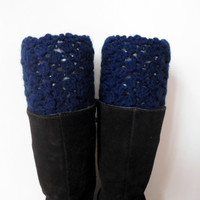 Navi Crochet boot cuffs, boot cuff, Crochet lace boot toppers,  Navi blue. Wool. Teenage. Women.