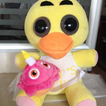 "1PC 25CM 9.8"" CHICA DUCK  at   Freddy Foxy Bonnie Chica Kids Toys  Animals Plush Dolls Stuffed Animals"