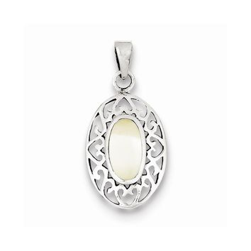 Sterling Silver Mother of Pearl Oval Antiqued Pendant