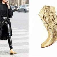 Gold Boots Size 7 Cutout Made in ITALY Metallic Golden Leather Art Vintage Boots Flat Cowboy Boots