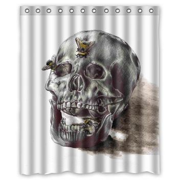 "Sketch skull butterfly custom Shower Curtain Bathroom decor fashion design Free Shipping 36x72"" 48x72"" 60x72"" 66x72"""