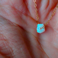 Rough Opal Micro Pendant & 925 Sterling Silver; Oxidized Sterling Silver; Rose Gold Fill; 14k Gold Fill Chain Necklace