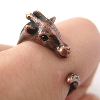 Miniature Giraffe Animal Wrap Ring in Copper - Sizes 4 to 9 Available