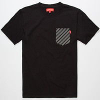 Asphalt Yacht Club Reflex Mens Reflective Pocket Tee Black  In Sizes