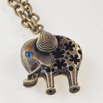 Bold Chunky Elephant Necklace brass, steam punk jewelry - statement piece, animal Africa - gift idea under 20 - daisy floral cut out