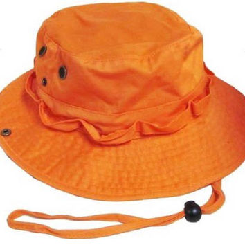 S Cloth Orange Bucket Hat Boonie Hunting Fishing Out R Cap Washed Cotton