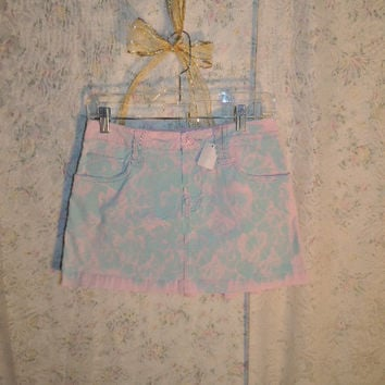 Upcycled Recycled Repurposed Skirt / Pink-Teal Lace Upcycled Skirt  /  Lace Pink Mini Skirt Juniors size 7 /Handpainted  By Tatteredfx