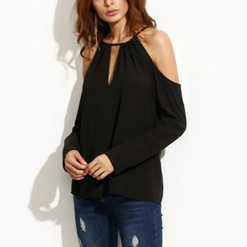 Sexy Cut Hollow Out Off Shoulder Back Tie Bow Halter V-Neck Blouse Long Sleeve