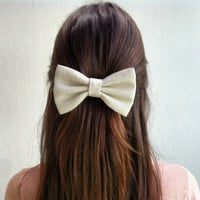 BIG Light gray hair bow (S-N-008)